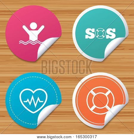 Round stickers or website banners. SOS lifebuoy icon. Heartbeat cardiogram symbol. Swimming sign. Man drowns. Circle badges with bended corner. Vector