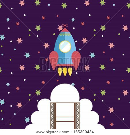 Space exploration. Spaceship with astronaut takes off from launching pad in starry night sky cartoon vector illustration. Astronomic concept for childrens books, greeting cards