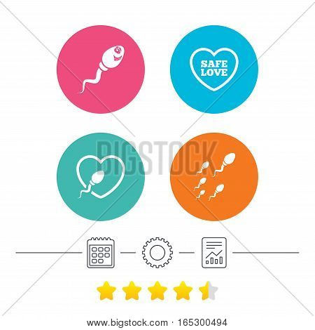 Sperm icons. Fertilization or insemination signs. Safe love heart symbol. Calendar, cogwheel and report linear icons. Star vote ranking. Vector