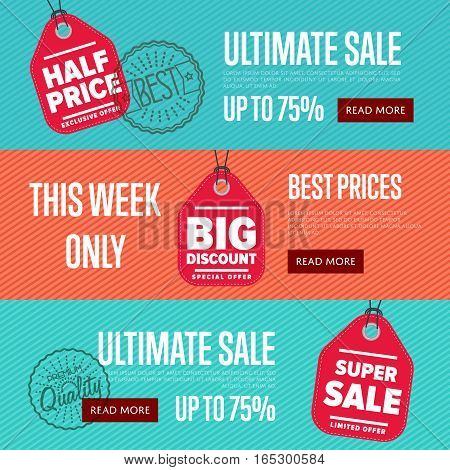 Ultimate sale discount banner set vector illustration. This week only sticker, limited offer sticker, advertisement retail label, best price, big discount, super sale symbol. Modern style offer sign