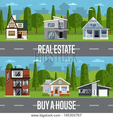 Real estate agency template with sale houses vector illustration. Commercial background. Real estate business concept. Family dream home. Vacation houses in rural area. Advertising company poster