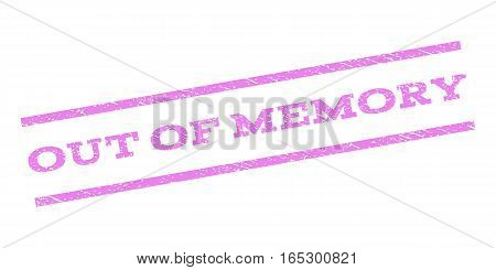 Out Of Memory watermark stamp. Text caption between parallel lines with grunge design style. Rubber seal stamp with scratched texture. Vector violet color ink imprint on a white background.
