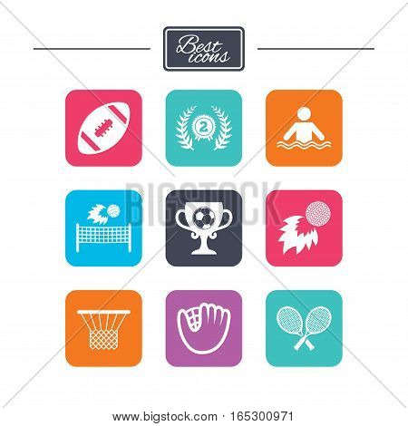 Sport games, fitness icons. Football, golf and baseball signs. Swimming, rugby and winner medal symbols. Colorful flat square buttons with icons. Vector
