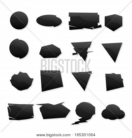 illustration of black different shape set of icons wiht simple shadow on white background
