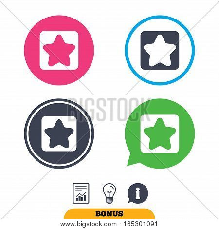 Star sign icon. Favorite button. Navigation symbol. Report document, information sign and light bulb icons. Vector
