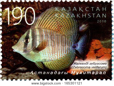 KAZAKHSTAN - CIRCA 2010: Postage stamp printed in Kazakhstan shows the Zebrasoma veliferum. Astana oceanarium