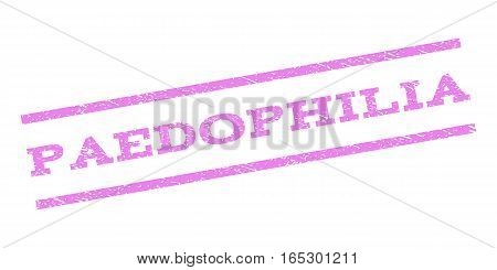 Paedophilia watermark stamp. Text caption between parallel lines with grunge design style. Rubber seal stamp with scratched texture. Vector violet color ink imprint on a white background.