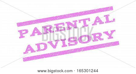Parental Advisory watermark stamp. Text tag between parallel lines with grunge design style. Rubber seal stamp with dust texture. Vector violet color ink imprint on a white background.