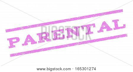 Parental watermark stamp. Text caption between parallel lines with grunge design style. Rubber seal stamp with unclean texture. Vector violet color ink imprint on a white background.