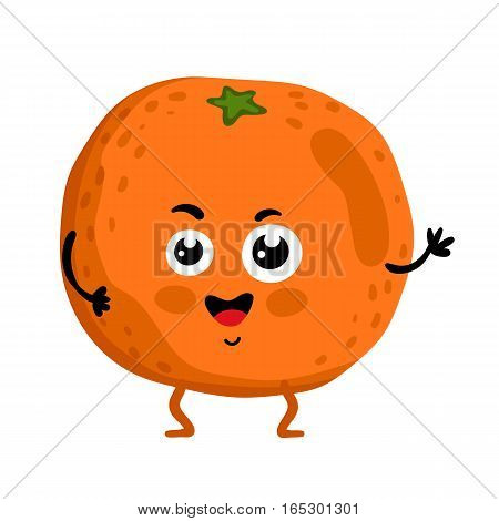 Cute fruit orange cartoon character isolated on white background vector illustration. Funny positive and friendly orange emoticon face icon. Happy smile cartoon face food emoji, comical fruit mascot