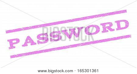 Password watermark stamp. Text caption between parallel lines with grunge design style. Rubber seal stamp with dirty texture. Vector violet color ink imprint on a white background.