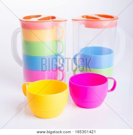 Cup Or Plastic Cup And Jar Set On Background.