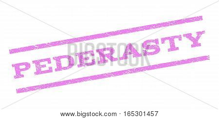Pederasty watermark stamp. Text tag between parallel lines with grunge design style. Rubber seal stamp with dust texture. Vector violet color ink imprint on a white background.