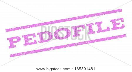 Pedofile watermark stamp. Text caption between parallel lines with grunge design style. Rubber seal stamp with dust texture. Vector violet color ink imprint on a white background.