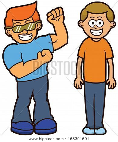 Muscular and Skinny Men Body Type Cartoon Characters