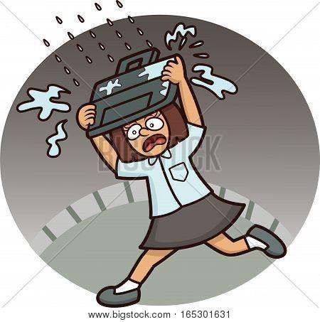 Panic School Girl Running Under the Rain
