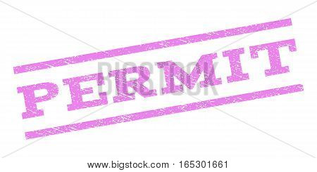 Permit watermark stamp. Text caption between parallel lines with grunge design style. Rubber seal stamp with dust texture. Vector violet color ink imprint on a white background.
