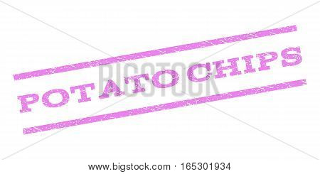 Potato Chips watermark stamp. Text tag between parallel lines with grunge design style. Rubber seal stamp with unclean texture. Vector violet color ink imprint on a white background.