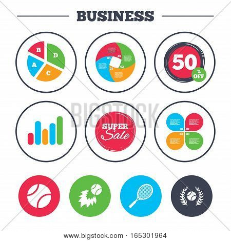Business pie chart. Growth graph. Tennis ball and racket icons. Fast fireball sign. Sport laurel wreath winner award symbol. Super sale and discount buttons. Vector
