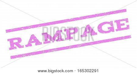 Rampage watermark stamp. Text caption between parallel lines with grunge design style. Rubber seal stamp with dirty texture. Vector violet color ink imprint on a white background.