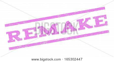 Remake watermark stamp. Text caption between parallel lines with grunge design style. Rubber seal stamp with dirty texture. Vector violet color ink imprint on a white background.