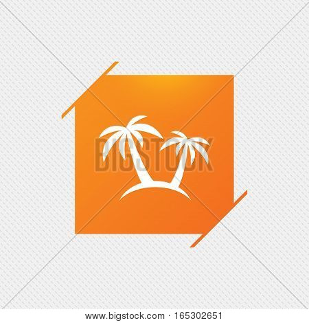 Palm Tree sign icon. Travel trip symbol. Orange square label on pattern. Vector