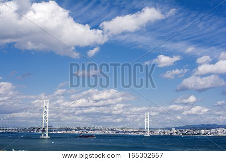 Akashi kaikyo bridge under blue sky with clouds