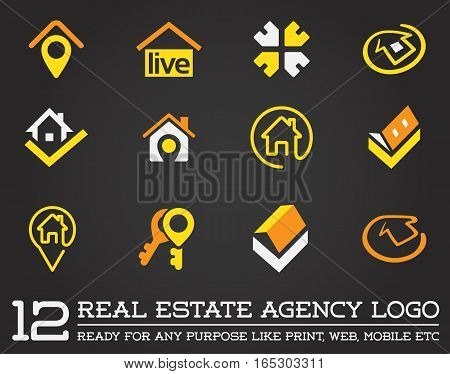 Set of Template logo for real estate agency or cottage town elite class. Real estate logo.