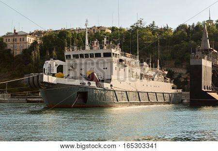 Sevastopol, Russia - June 09, 2016: Cable ship Setun in the Bay Black Sea.