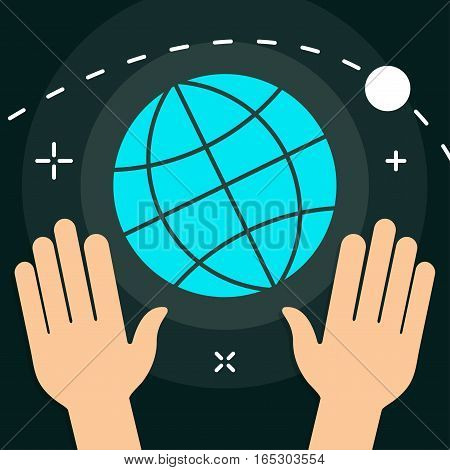 Vector World with Hands Flat Minimal Style Colorful Icon