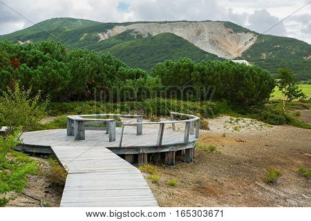 Kamchatka Peninsula, Russia - August 12, 2016: Observation deck at the Uzon Caldera. Kronotsky Nature Reserve on Kamchatka Peninsula