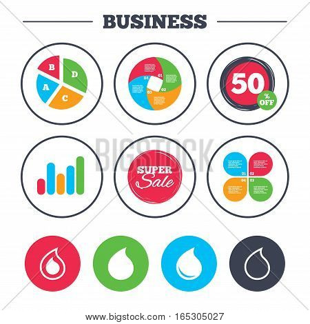 Business pie chart. Growth graph. Water drop icons. Tear or Oil drop symbols. Super sale and discount buttons. Vector