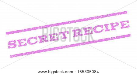 Secret Recipe watermark stamp. Text caption between parallel lines with grunge design style. Rubber seal stamp with dust texture. Vector violet color ink imprint on a white background.