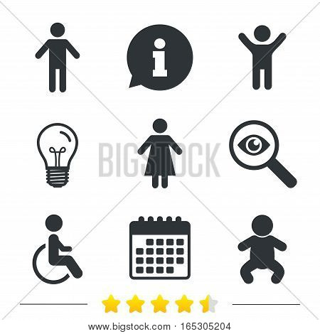 WC toilet icons. Human male or female signs. Baby infant or toddler. Disabled handicapped invalid symbol. Information, light bulb and calendar icons. Investigate magnifier. Vector
