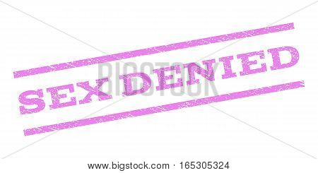 Sex Denied watermark stamp. Text tag between parallel lines with grunge design style. Rubber seal stamp with unclean texture. Vector violet color ink imprint on a white background.