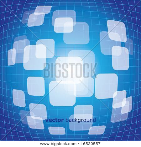 Vector 3D warped square on blue background