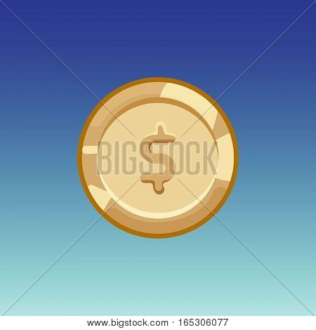 Flat cartoon coinsfor web, game or app interface. Bronze monet with money. Modern color vector game art illustration on blue background.