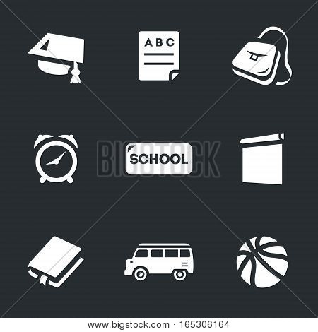 Academic hat, alphabet, portfolio, service, sign, board, book, bus, ball.