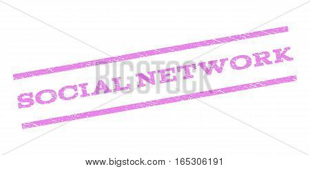 Social Network watermark stamp. Text caption between parallel lines with grunge design style. Rubber seal stamp with dust texture. Vector violet color ink imprint on a white background.