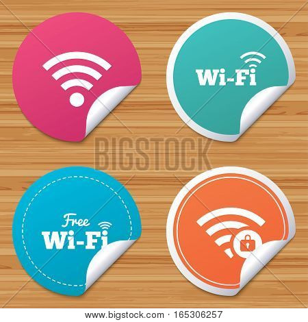 Round stickers or website banners. Free Wifi Wireless Network icons. Wi-fi zone locked symbols. Password protected Wi-fi sign. Circle badges with bended corner. Vector