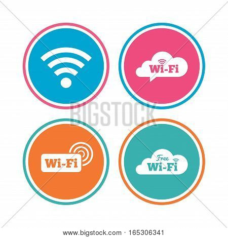 Free Wifi Wireless Network cloud speech bubble icons. Wi-fi zone sign symbols. Colored circle buttons. Vector