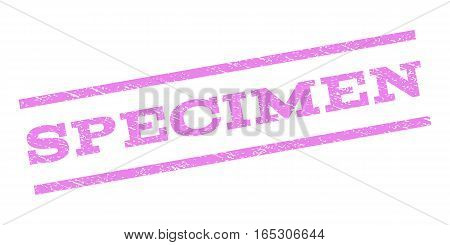 Specimen watermark stamp. Text tag between parallel lines with grunge design style. Rubber seal stamp with dirty texture. Vector violet color ink imprint on a white background.