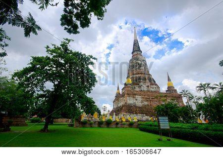 Wat Yai Chai mong kol in Ayuttaya thailand