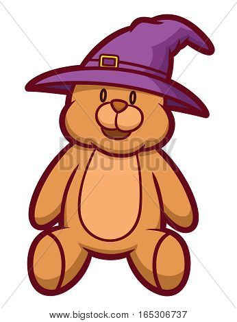 Teddy Bear Wearing Wizard Hat Cartoon Illustration Isolated on White