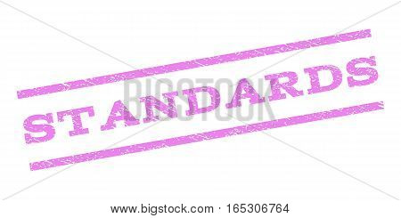 Standards watermark stamp. Text caption between parallel lines with grunge design style. Rubber seal stamp with scratched texture. Vector violet color ink imprint on a white background.