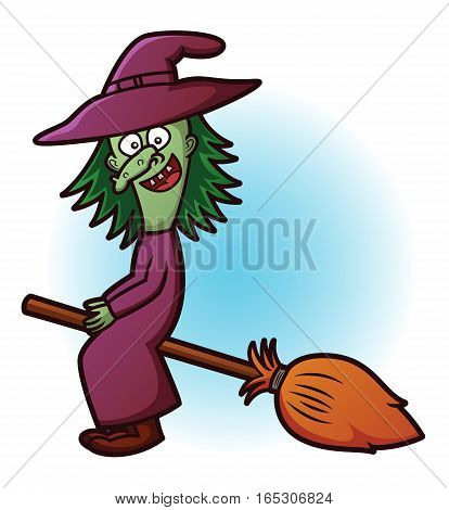 Witch Flying with Broom Cartoon. Vector Horror Character.