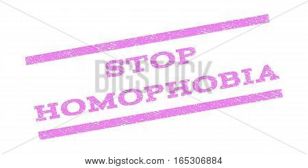 Stop Homophobia watermark stamp. Text tag between parallel lines with grunge design style. Rubber seal stamp with dust texture. Vector violet color ink imprint on a white background.