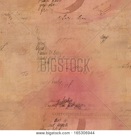 Vintage style pattern with fragments of letters and old paper textures. Visible text includes 'written correspondence' in French and 'ticket number' in Spanish. Sepia-toned background