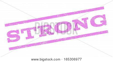 Strong watermark stamp. Text tag between parallel lines with grunge design style. Rubber seal stamp with dirty texture. Vector violet color ink imprint on a white background.