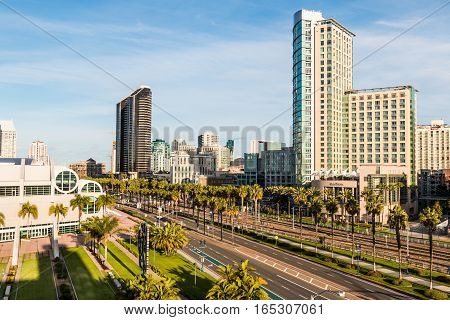 SAN DIEGO, CALIFORNIA - JANUARY 8, 2017:  Convention Center and surrounding hotels on Harbor Drive near the Gaslamp Quarter.